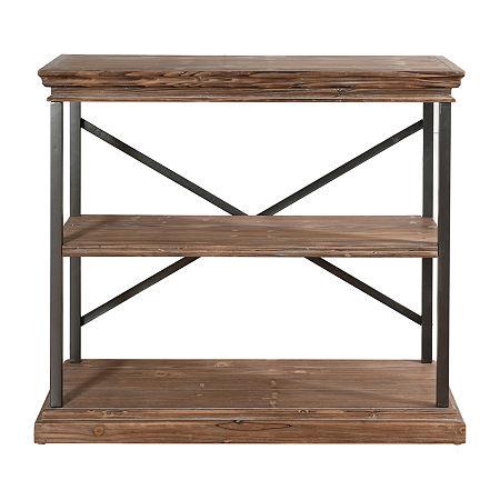Stylecraft Driftwood Grey Metal and Wood 3 Tier Bookshelvese, One Size , Black