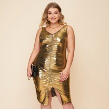 Vestidos Tallas Grandes Drapeado Liso Glamour