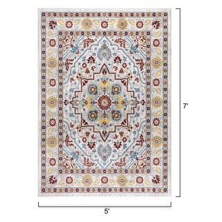Traditional Vintage Floral Ornament Cream Red Area Rugs (5 x 7)