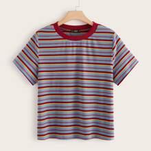 Plus Striped Rib-knit Top