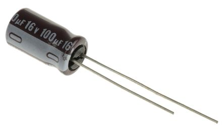 Nichicon 100μF Electrolytic Capacitor 16V dc, Through Hole - UPW1C101MED (10)