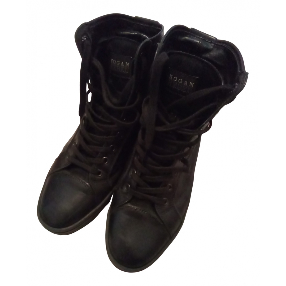 Hogan - Baskets   pour femme en cuir - noir