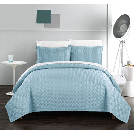 Chic Home Weaverland Quilt Set, One Size , Blue