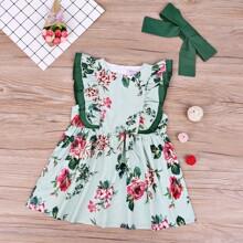 Kleinkind Maedchen Kleid mit Blumen Muster, Rueschen und Kopfband