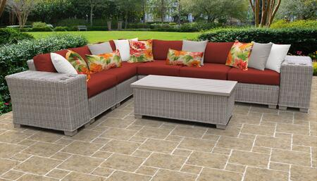 Coast Collection COAST-09b-TERRACOTTA 9-Piece Patio Set 09b with 1 Corner Chair   5 Armless Chair   2 Cup Table   1 Storage Coffee Table - Beige and