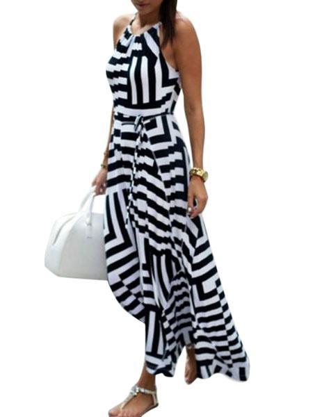 Milanoo Vestido largo blanco  Moda Mujer con estampado de rayon Vestidos Vestidos bohemios con pliegues con escote redondo Verano para ocasion informa