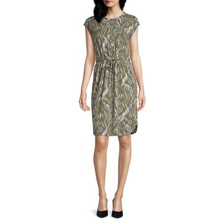 Liz Claiborne Sleeveless Animal T-Shirt Dresses, Medium , Green