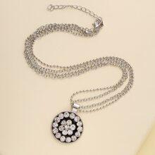 Rhinestone Decor Round Charm Layered Necklace