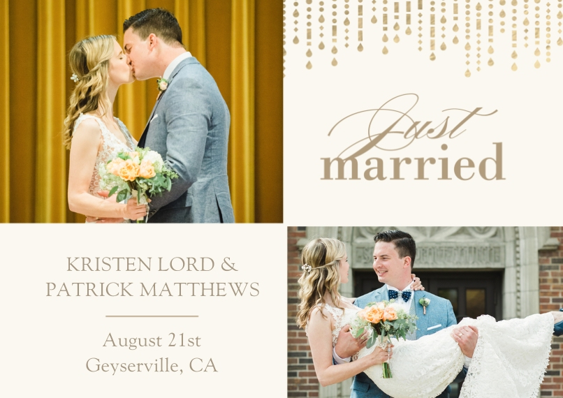 Just Married 5x7 Cards, Premium Cardstock 120lb with Rounded Corners, Card & Stationery -Metallic Garland - Announcement