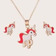 1pc Unicorn Design Necklace & 1pair Stud Earrings