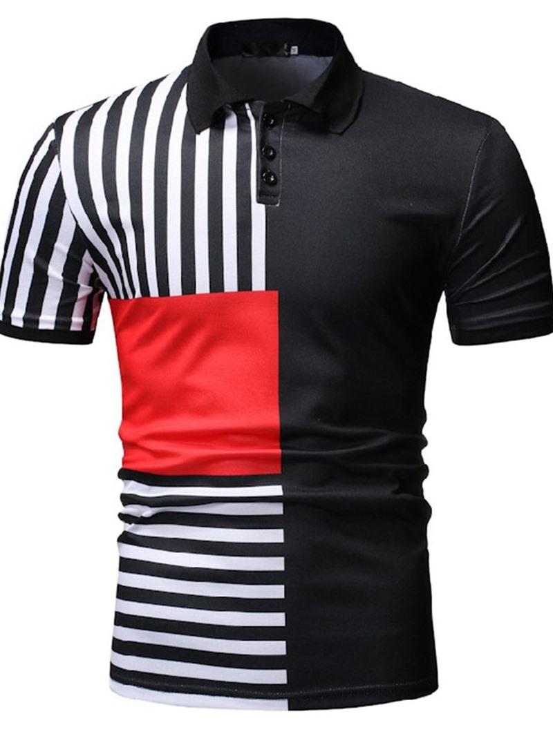 Ericdress Polo Neck Stripe Polo Shirt