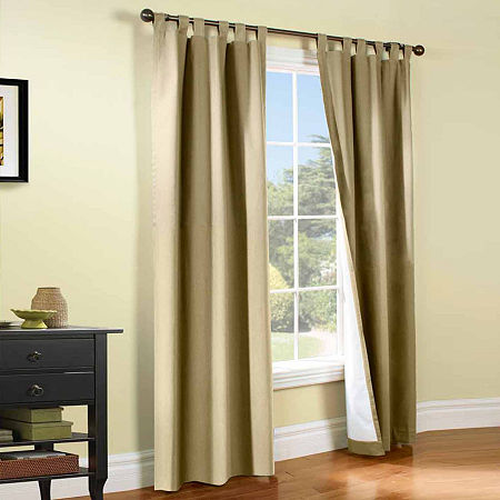 Weathermate Energy Saving Light-Filtering Tab-Top Set of 2 Curtain Panel, One Size , Beige