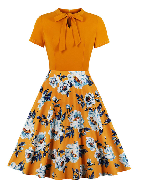 Milanoo Vestido vintage Vestido estampado floral anudado de manga corta anudado con estampado floral de los años 50