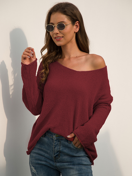 Yoins Basic V-neck Long Sleeves Sweater