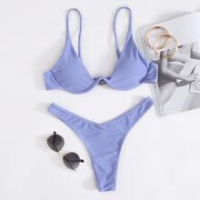 Underwire High Leg Bikini Swimsuit