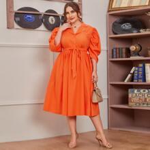 Plus Neon Orange Puff Sleeve Self Belted Shirt Dress