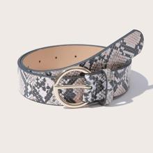 Snakeskin Pattern PU Buckle Belt