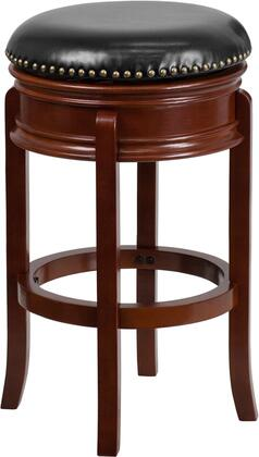 TA-68829-LC-GG 30 Backless Barstool with Swivel Seat  Protective Floor Glides and LeatherSoft Upholstery in Light Cherry Wood