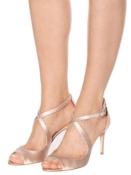 Milanoo High Heel Sandals Womens Satin Peep Toe Criss Cross Stiletto Heel Sandals