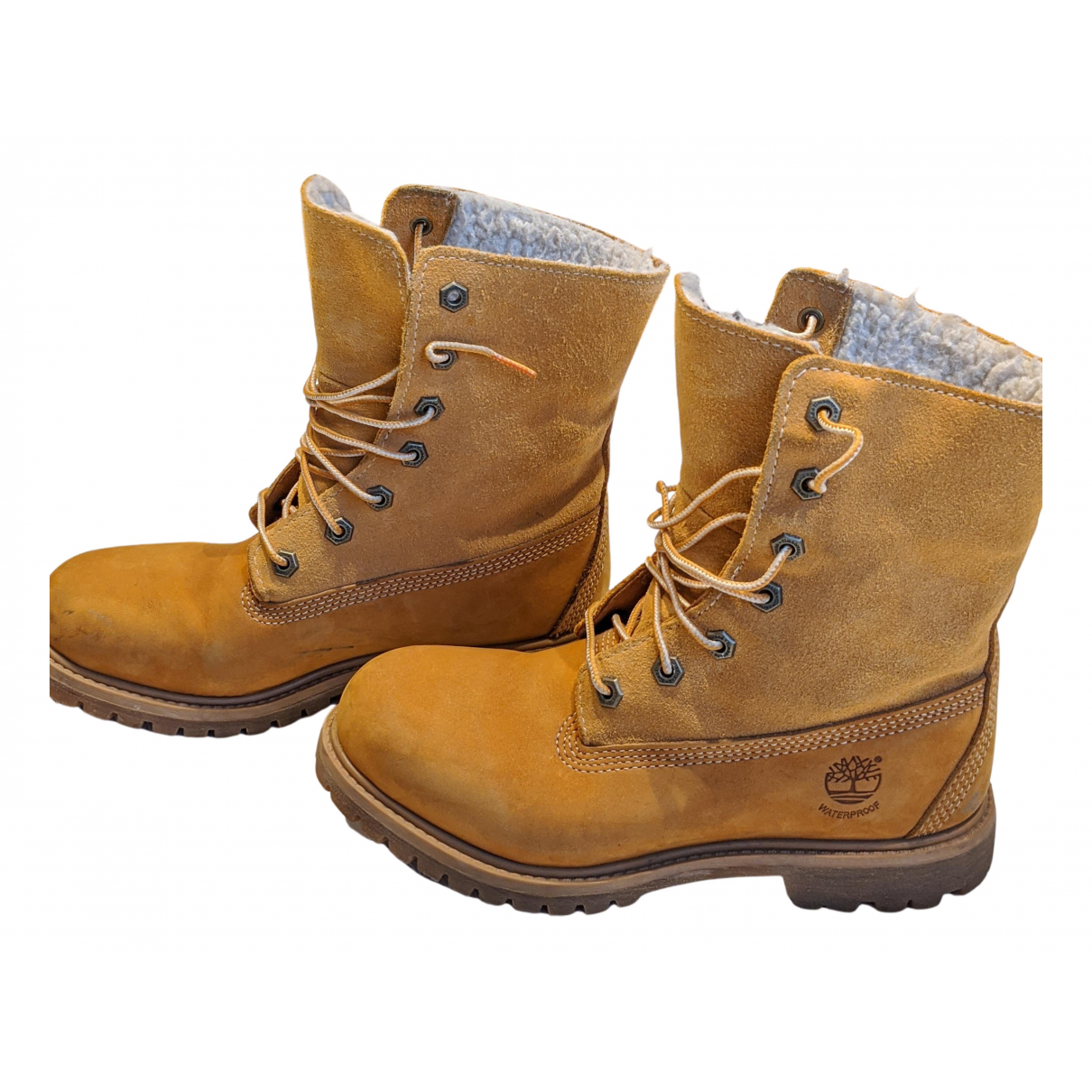Timberland N Yellow Leather Boots for Women 37 EU