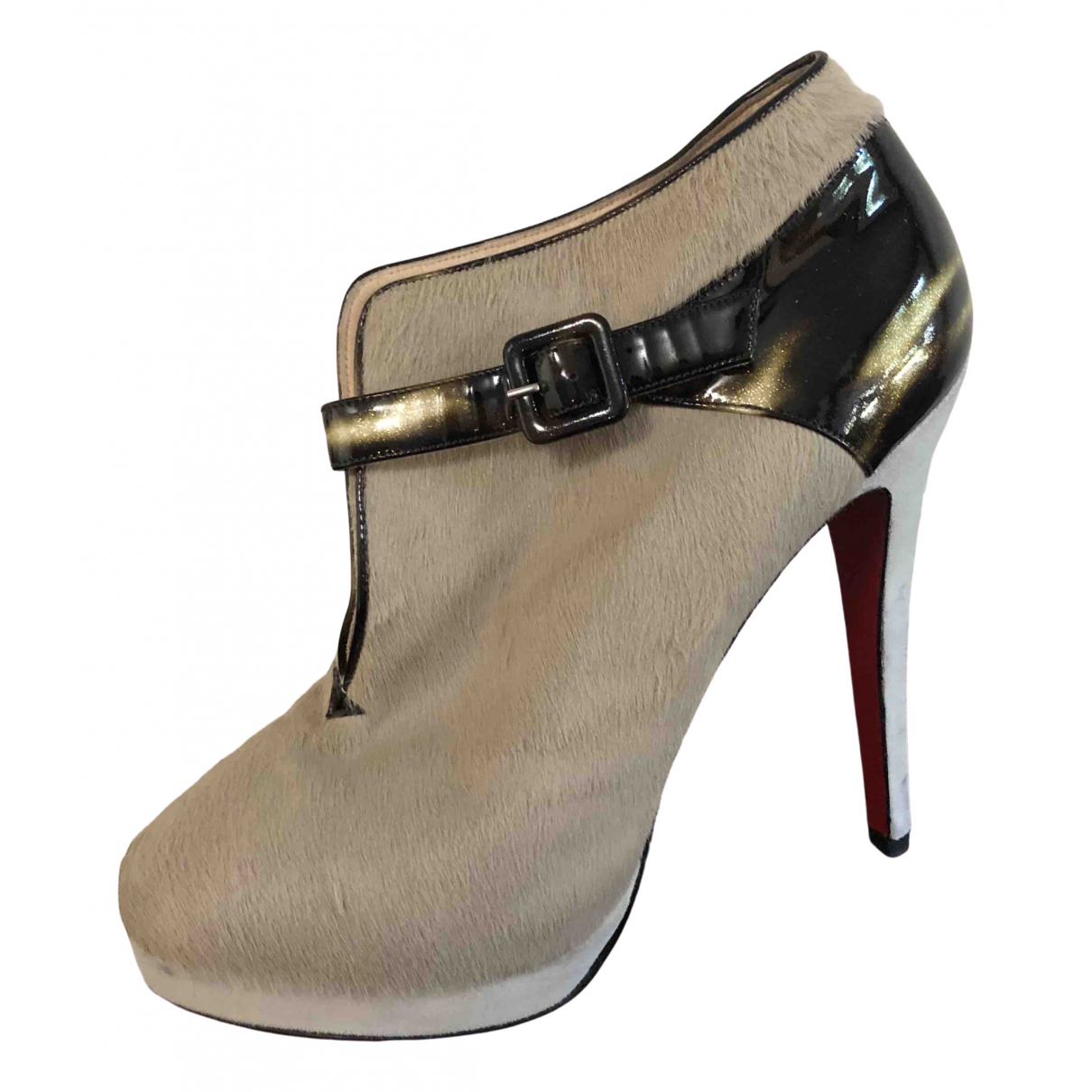 Christian Louboutin \N Beige Pony-style calfskin Ankle boots for Women 38.5 EU
