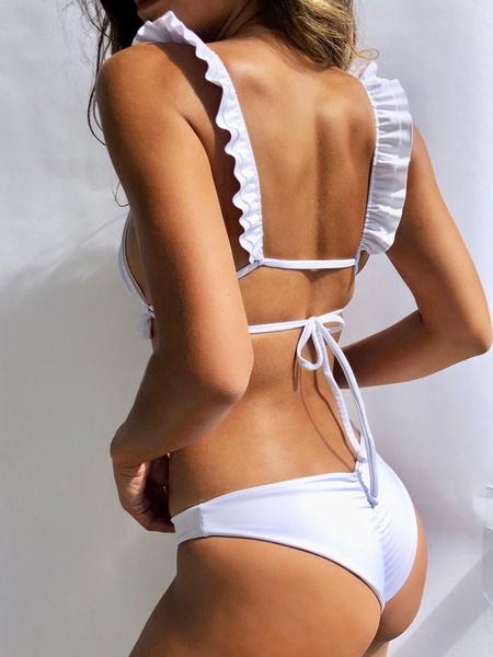 Milanoo Women Bikini Swimsuit 2020 Ruffles Straps Low Rise Summer Sexy Swimwear
