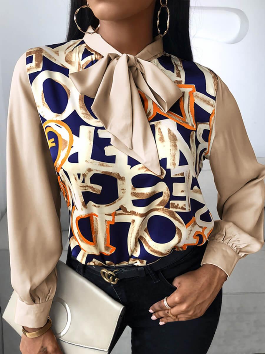 LW Lovely Fashion Ribbon Collar Letter Print Brown Blouse