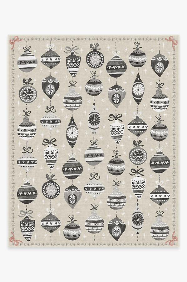 Washable Rug Cover & Pad | Festive Garland Warm Grey Rug | Stain-Resistant | Ruggable | 8'x10'