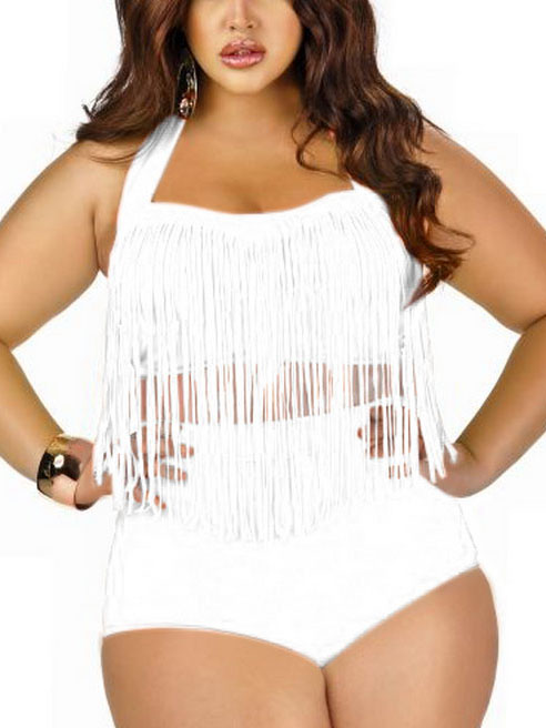 Retro Women Plus Size Tassel High Waist Bikini Set