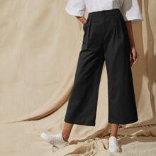 Crop Hosen mit Tasche, Plissee und weitem Beinschnitt