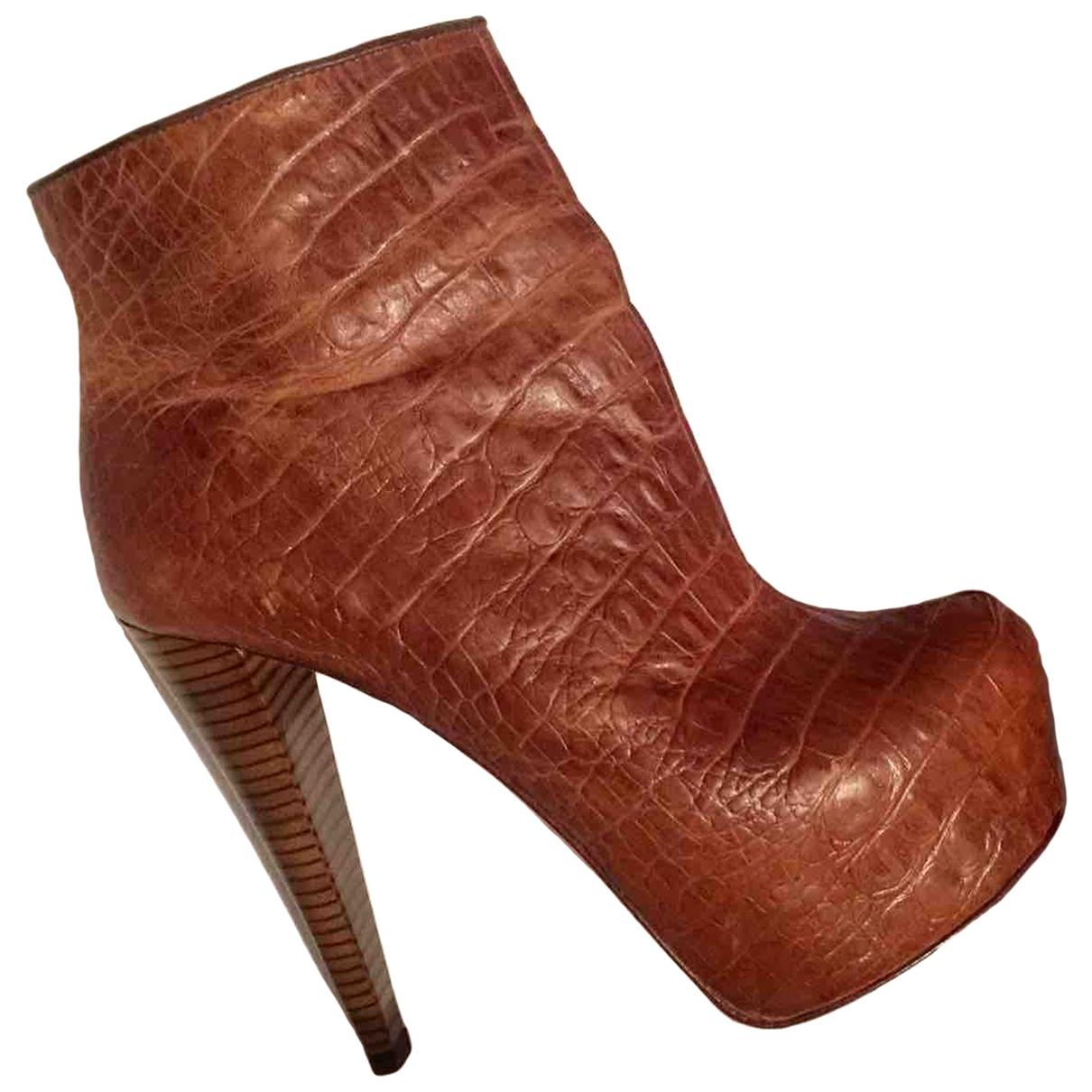 Alice & Olivia - Bottes   pour femme en cuir exotique - marron