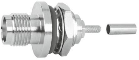 Telegartner Straight 50Ω Panel Mount Coaxial Connector, jack, Nickel, Solder Termination, RG174/U, RG188 A/U, RG316/U