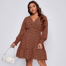 Plus All Over Print Shirred Waist Surplice Front Dress