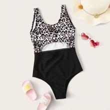 Girls Leopard Cut Out One Piece Swimwear