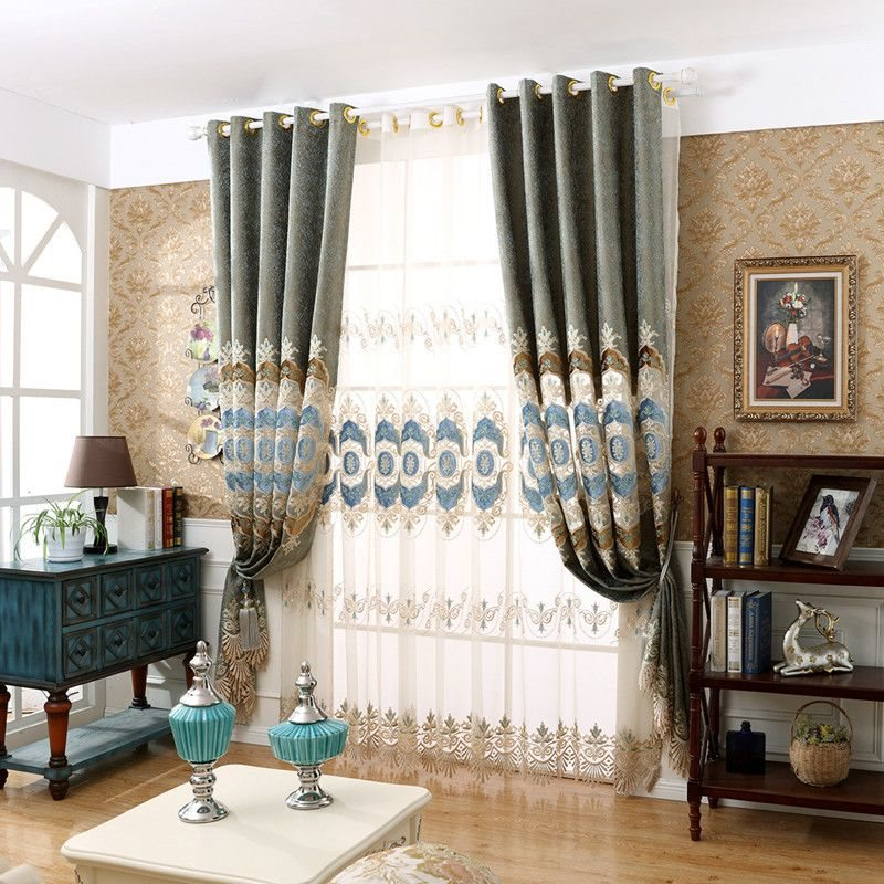 Classical Elegant Delicate Embroidered Classy Decorative Custom Sheer Curtains for Living Room Bedroom
