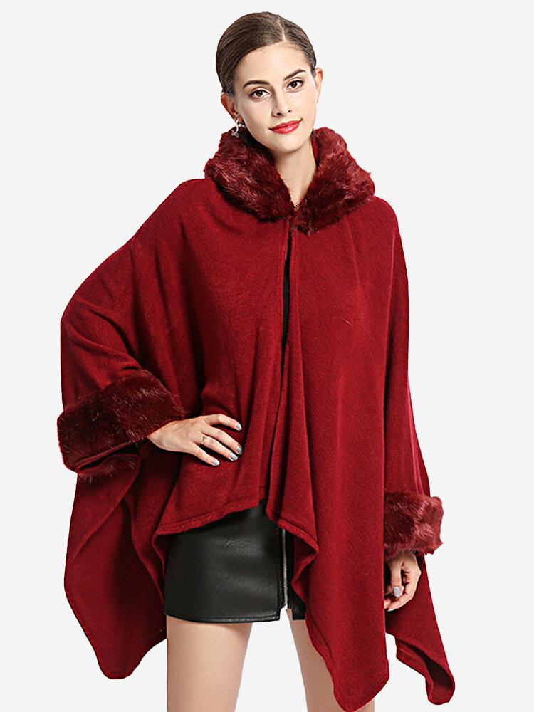 Elegant Faux Fur Collar Hooded Knit Shawl Cloak Coat