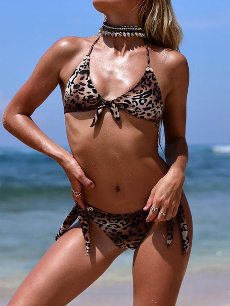 Ericdress Bikini Set Leopard Beach Look Bowknot Swimsuit
