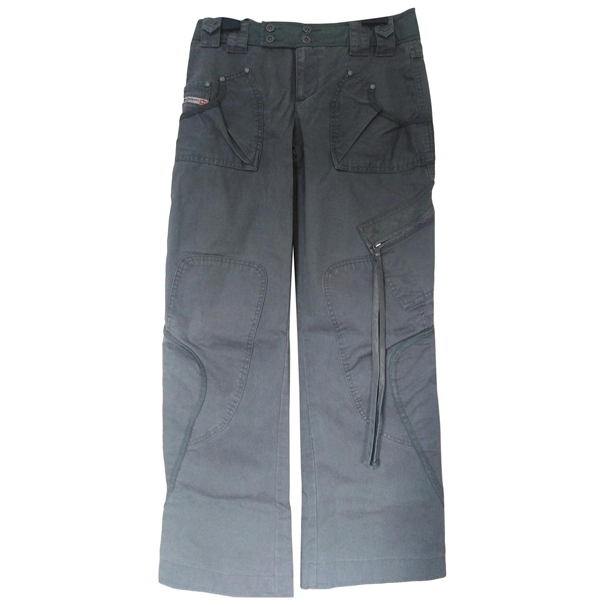 Diesel \N Grey Cotton Trousers for Women 38 IT
