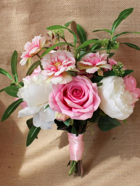 Milanoo Ramos de flores rosadas Cintas de boda Flores de mano de dama de honor