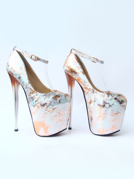 Milanoo Women Platform Shoes High Heels Golden Square Toe Printed Sexy Shoes