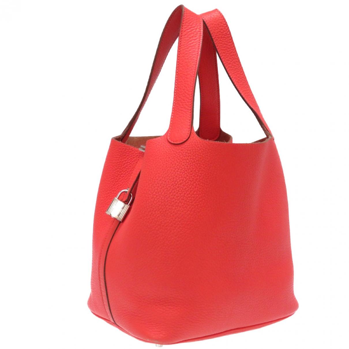 Hermes - Sac a main Picotin pour femme en cuir - rouge