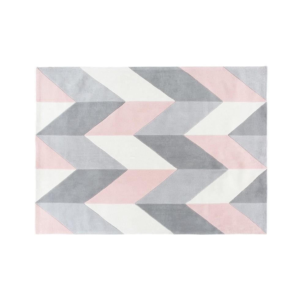 Getufteter Teppich mit grauen und rosa grafischen Motiven 160x230