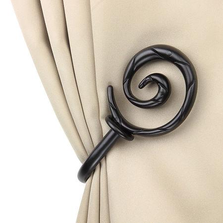 Rod Desyne Decorative Holdbacks with Spiral Finials, One Size , Black