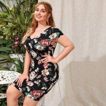 Plus Double V Neck Floral Print Dress