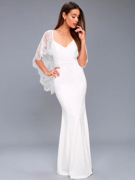 Milanoo Vestido largo blanco  Color liso con 1/2 manga de poliester muy escotado por detras de encaje con cuello en V Primavera Verano