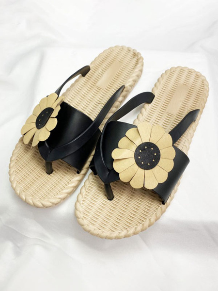 Milanoo Sandal Slippers Apricot Round Toe Flowers Slip-On Flower Flip Flops