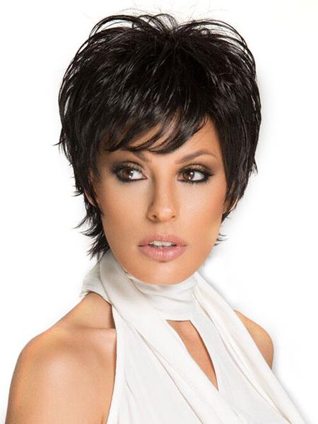 Milanoo Pelucas de cabello humano negras Pixies & Boycuts estilo moderno 8 inches