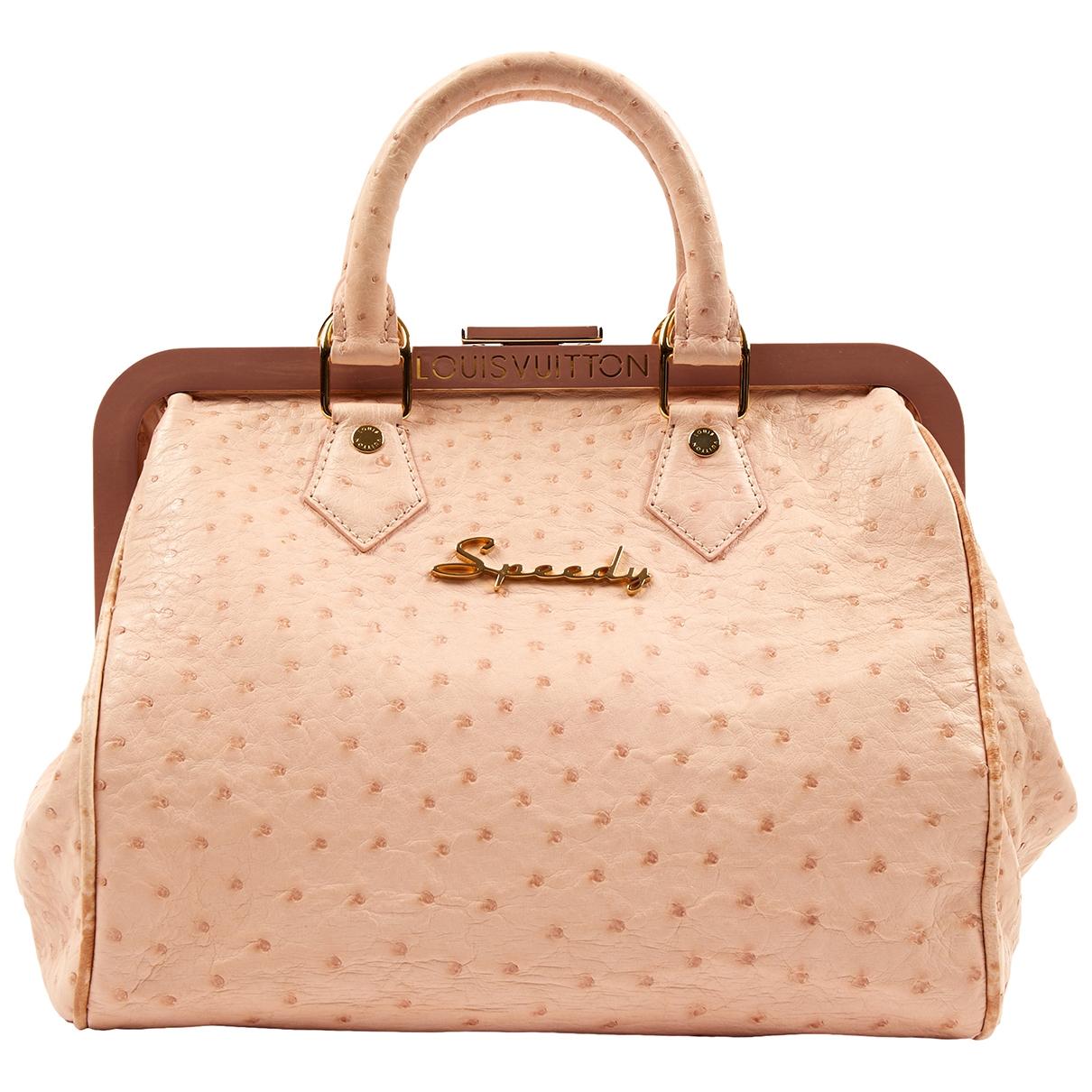 Louis Vuitton Speedy Handtasche in  Rosa Vogelstrauss