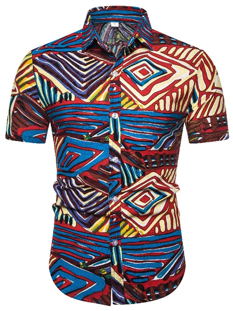 Ericdress Geometric Print Lapel Single-Breasted Mens Slim Shirt