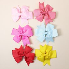 6pcs Toddler Girls Plain Bow Hair Clip